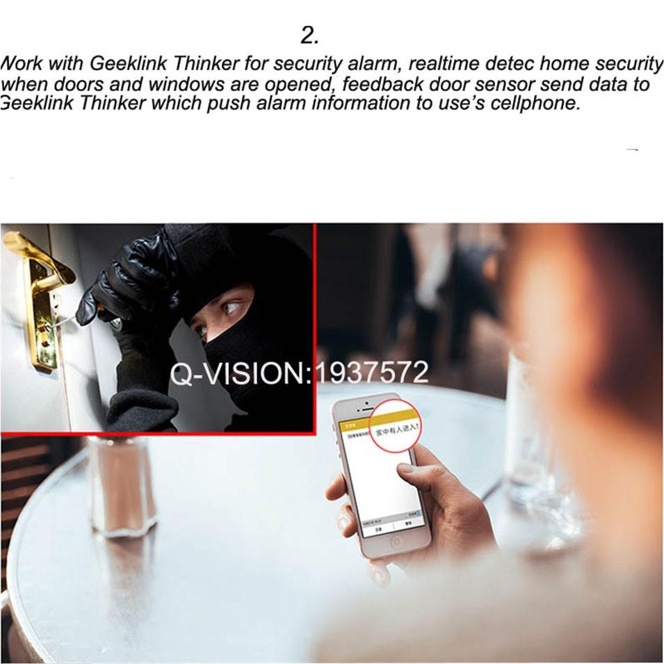 Geeklink Two-Way Feedback Door Sensor Contact Wireless Door Window Magnet Entry Detector Sensor For Smart Home Alarm Security Thinker RemoteBox 3s Extension IP camera-2