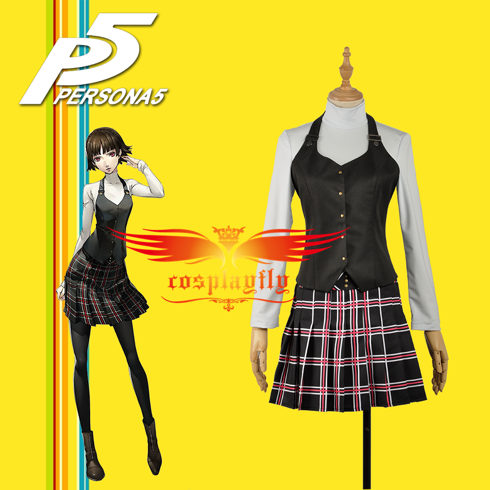 Persona 5 Queen Makoto Niijima Female Outfit Vest Shirt Skirt Clothing School Uniform Cosplay Costume W1188