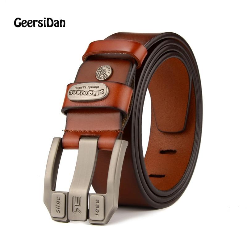 GEERSIDAN 2018 designer högkvalitativt lyx märke äkta läderstift spänne bälte för män mode företag män bälten manrem