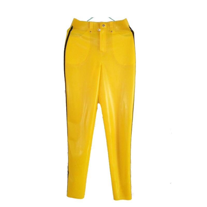 Pantalon Latex 100% caoutchouc unisexe jaune et noir Sexy pantalon avec fermeture éclair et poche taille XXS-XXL