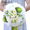 Bruidsboeket 2016 Bridal Bouquet Bridesmaid Artificial White Rose Flower Bride Bouquets Wedding Accessories