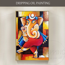 New Arrivals Handmade High Quality Special Animal Elephant Ganesh Oil Painting on Canvas Handmade Indian God Ganesh Oil Painting