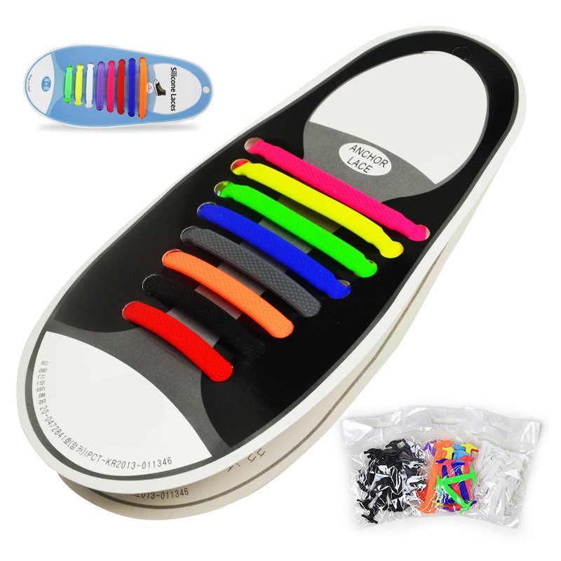 16 unids/lote accesorios para zapatos Cordones elásticos de silicona Cordones elásticos creativos de silicona perezosos sin lazo encaje de goma