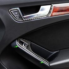 цена на For Audi A4 B8 2009 2010 2011 2012 2013 2014 2015 2016 Carbon Fiber Door Armrest Panel Window Switch Button Cover Sticker Trim