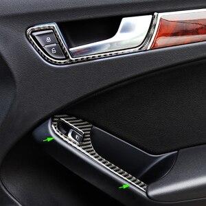 Image 1 - For Audi A4 B8 2009 2010 2011 2012 2013 2014 2015 2016 Carbon Fiber Door Armrest Panel Window Switch Button Cover Sticker Trim