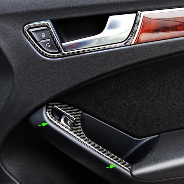 For Audi A4 B8 2009 2010 2011 2012 2013 2014 2015 2016 Carbon Fiber Door Armrest Panel Window Switch Button Cover Sticker Trim