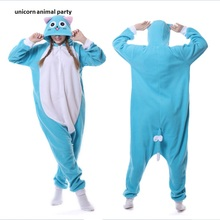 Cartoon Animal Blue Happy Cat Onesie Unisex Adult Pajamas Cosplay Costumes Sleepsuit Sleepwear