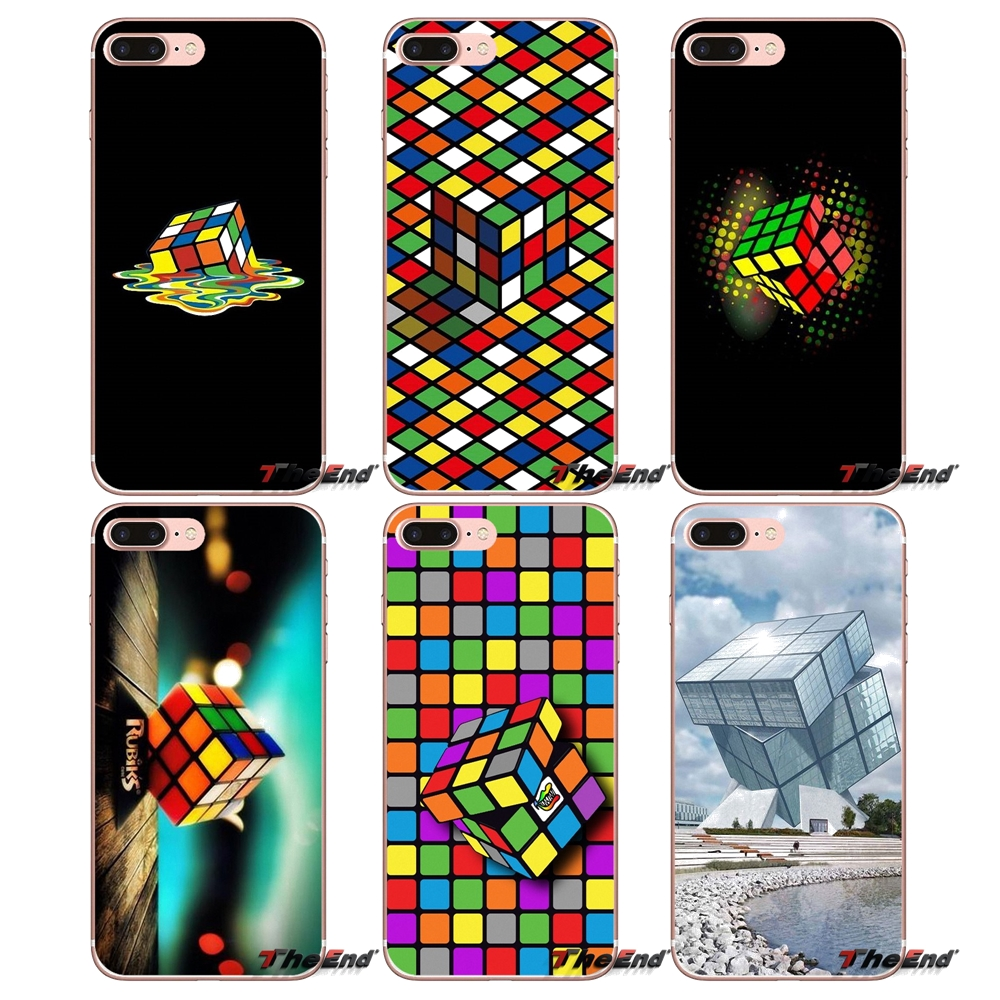 Half-wrapped Case Rubiks Cube Classic Magic Toys Slim Silicone Phone Case For Iphone X 4 4s 5 5s 5c Se 6 6s 7 8 Plus Suitable For Men And Women Of All Ages In All Seasons