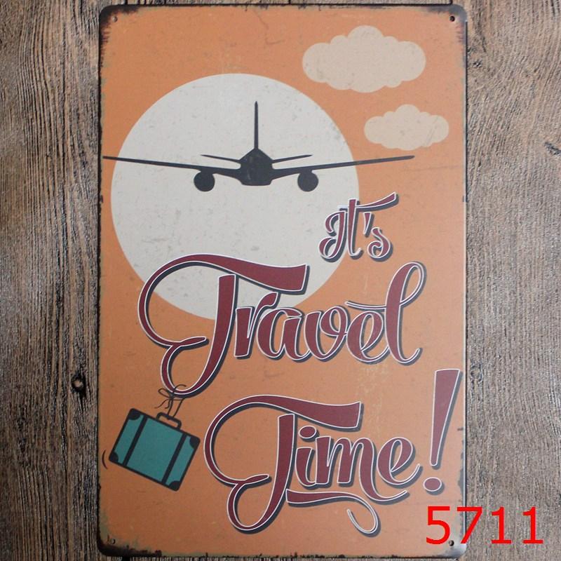 TRAVEL TIME DESIGN Vintage Style Tin Sign Wall sticker Iron Antique Metal Tin Painting Wall Tin Signs Pub DECOR 20X30CM