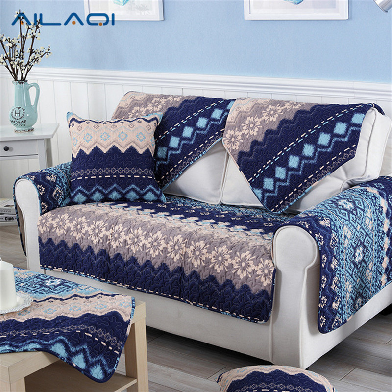 AILAQI Mediterranean style blue cotton fabric four seasons common living room European anti - skid sofa mat sofa sets