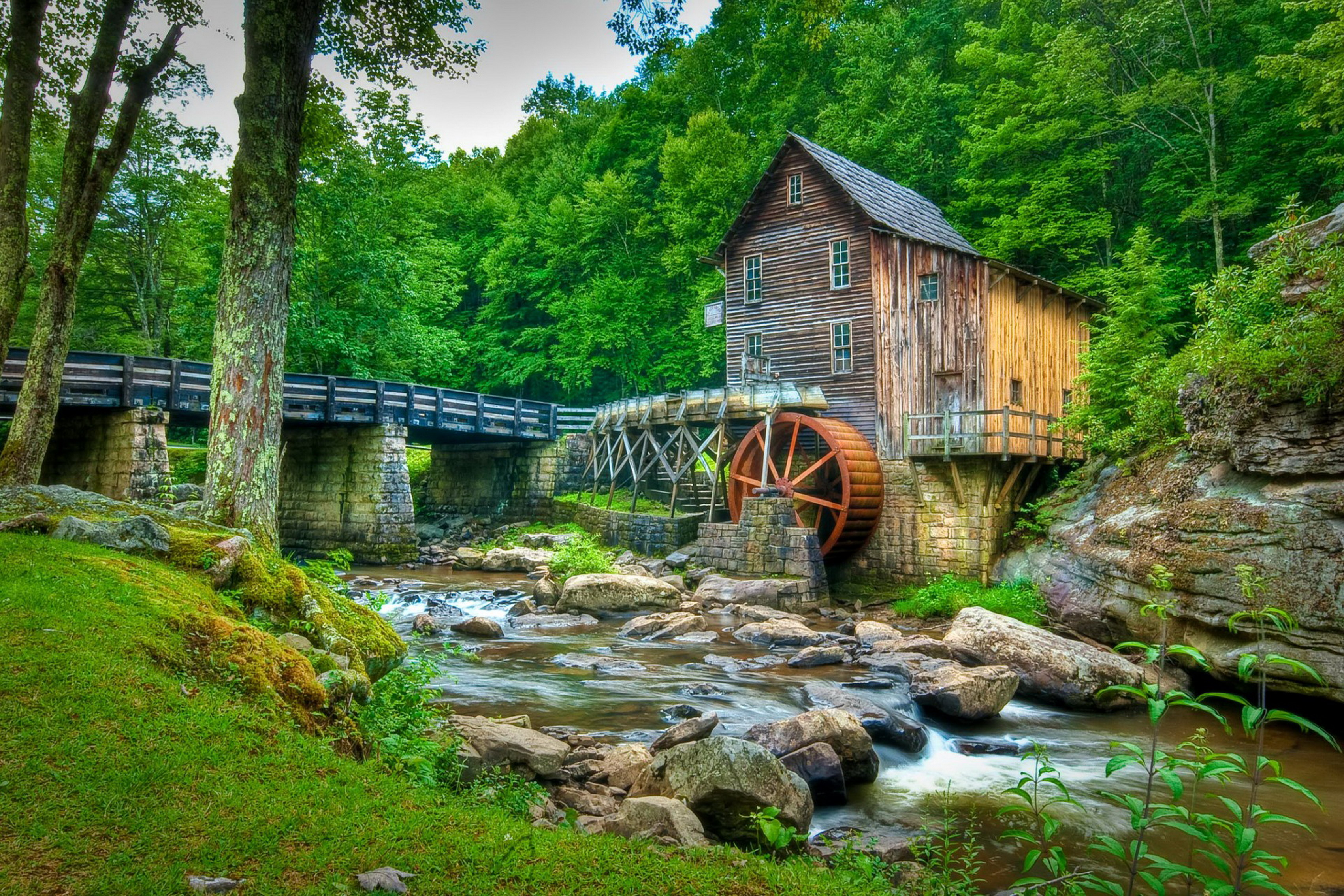 Home Decoration USA Babcock State Park Forest Stream Rocks Trees Bridge Water Mill Silk Fabric Poster