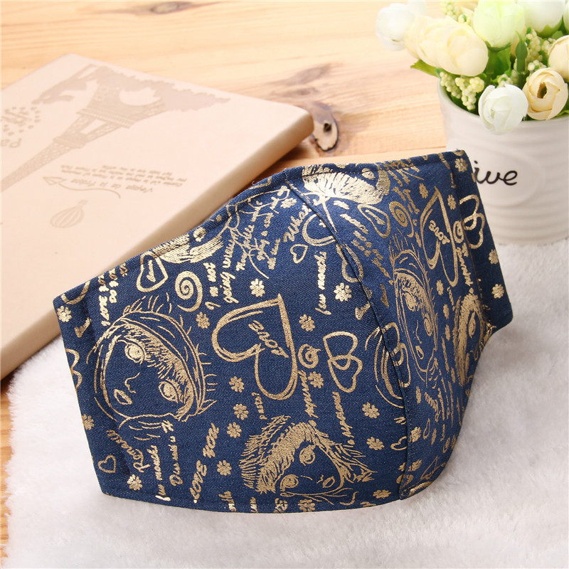 5pcs/Bags New European And American Style Adult Gold Foil Printing Fashion Adult Personality Pattern Dustproof Haze Masks