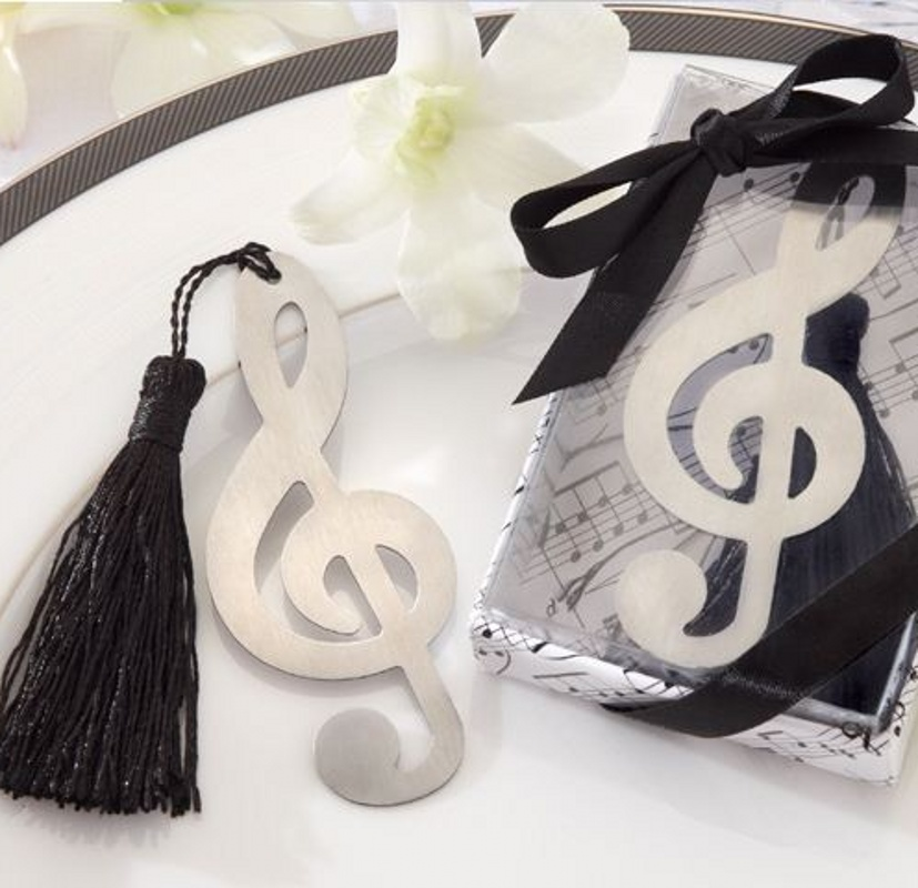 2019 Hollow Musical Notes Bookmarks Metal With Mini Greeting Cards Tassels Pendant Gifts Wedding Favors With Retail Box K6897