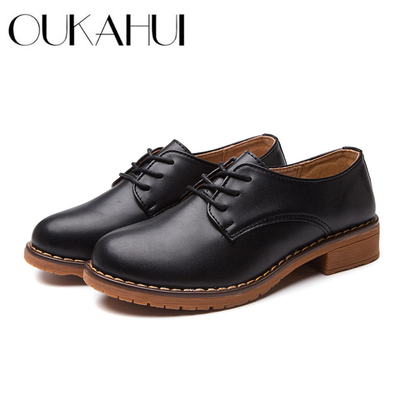 Oukahui Autumn/spring Leather Shoes Women 2018 Flat Low Heel 3cm British Style Square Heel Split Cow Leather Casual Shoes Women