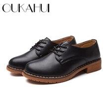 Oukahui jesień/wiosna skórzane buty damskie 2018 płaskie buty na niskim obcasie 3cm brytyjski styl kwadratowy obcas split buty typu casual ze skóry bydlęcej kobiet