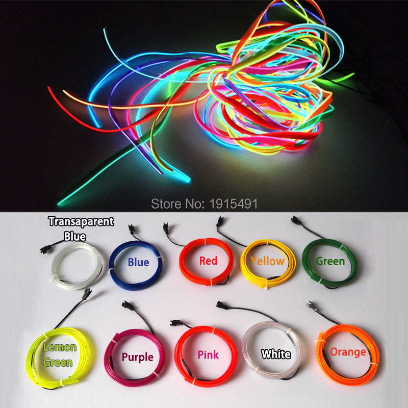 1m-5m Flexible Car EL Wire Neon Light Dance Festival Led strip EL luces con DC-12V Driver 2.3 MM con 6 MM borde de costura