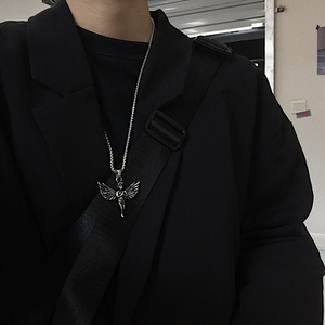 Kpop Retro Harajuku Hip Hop Angel Wings Pendant Stainless Steel Men E-girl Necklace Disco Couple Gothic Colar Necklace Jewelry