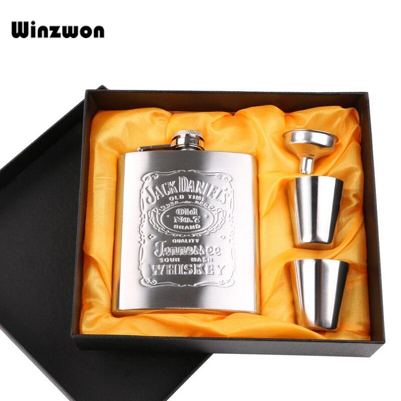 Frasco de acero inoxidable de 7 onzas de acero inoxidable juego de botella de Alcohol de whisky flagón de bolsillo botellas de Alcohol de cerveza de vino con regalo caja