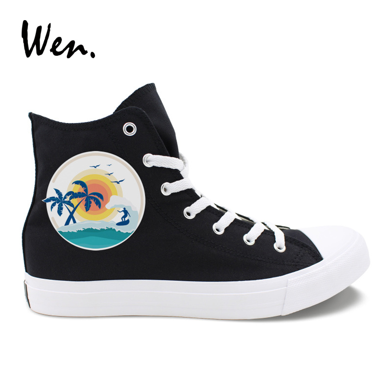 Wen Classic Black Men Casual Shoes Design Beach Surfing Palm Coconut Tree Summer Time High Top White Women Sneakers Canvas Shoes цена