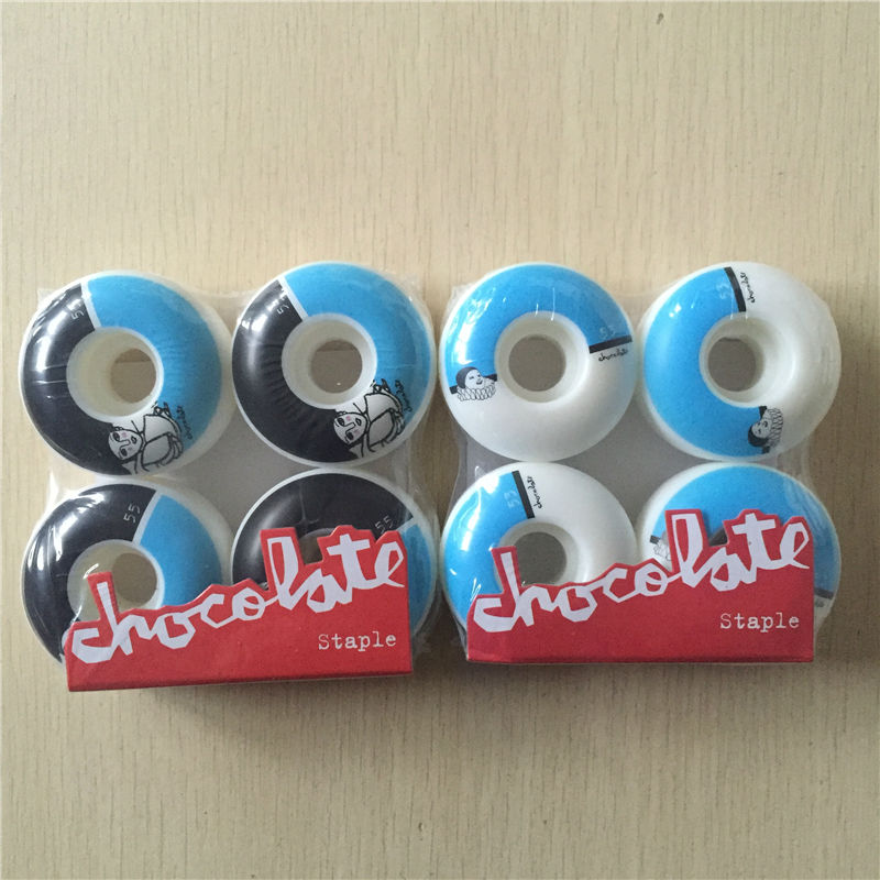 53mm 55mm 4Pcs/set 101A USA Chocolate Pro Skateboard Wheels For Skateboard Deck White PU Lean Shape Rodas De Skate