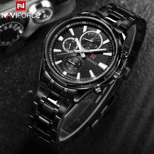Image 4 - NAVIFORCE Relogio Masculino Herrenuhren Top marke Luxus Schwarz Stahl Quarzuhr Männer Casual Sport Chronograph Armbanduhr