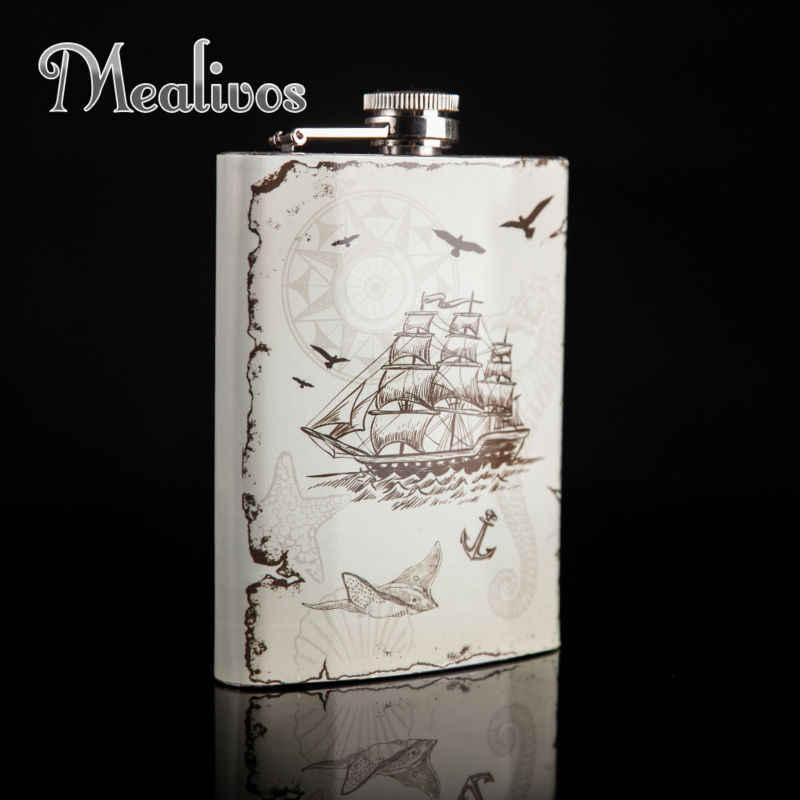 Mealivos fashion Nautischen stil Glaskolben 8 unze 304 # Edelstahl Flachmann drink Alkohol Schnaps Flasche geschenke wein topf