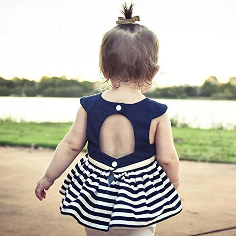 Darmowa wysyłka 2 szt. Dziewczynek bez rękawów w paski spódnica - Odzież dla niemowląt - Zdjęcie 4