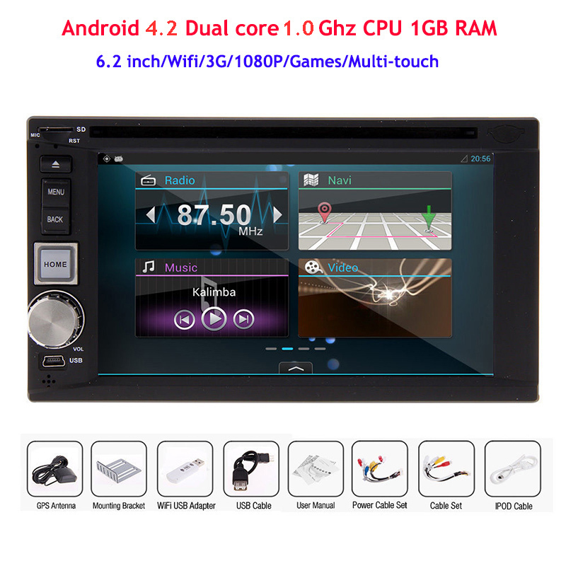 Capacitive Touch 2 Din Android 4.2 Car DVD Player Double Automotivo Radio GPS Wifi 3G 1080P Dual core 1.0 Ghz CPU - Copuma Technology Company Limited store