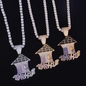 Image 5 - Christmas House Shape Iced naszyjnik i łańcuszek z wisiorem złoty kolor cielisty Cubic cyrkon męski hip hop biżuteria bezpłatny łańcuch tenisowy