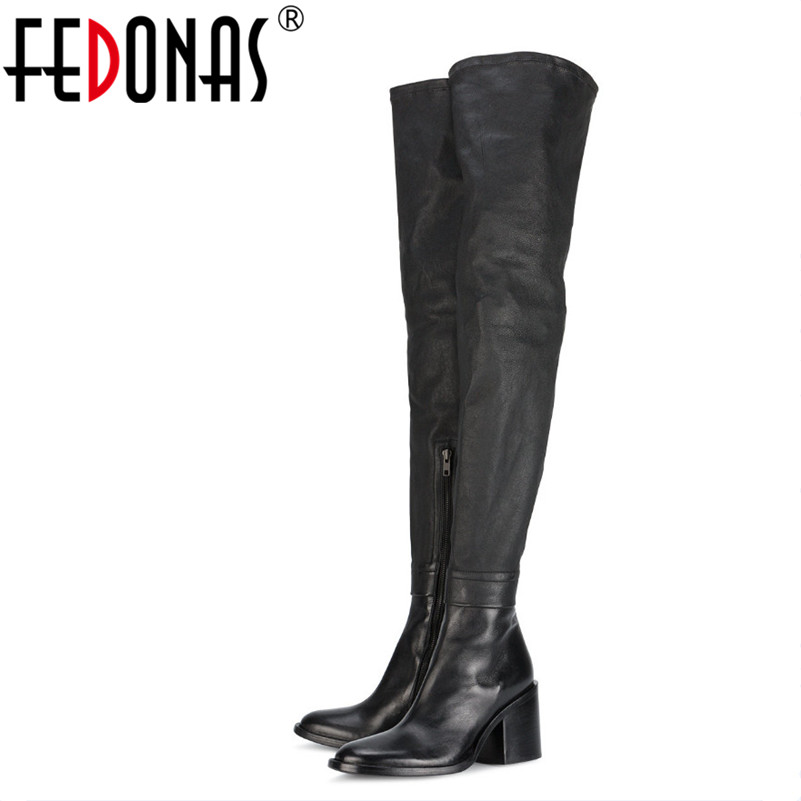 FEDONAS Fashion Over The Knee Boots High Heels Genuine Leather Motorycle Boots Female Thigh High Autumn Winter Long Shoes Woman fashion snake printed thigh high boots med heels slip on over the knee boots autumn winter party banquet prom shoes woman