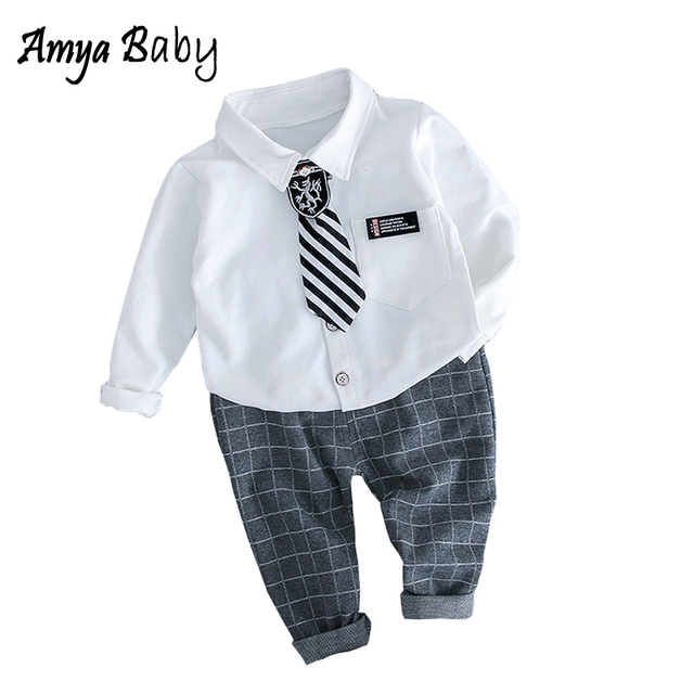 1f94d60f8862c AmyaBaby Baby Boy Set White Turn-down Collar Blouse Plaid Pants 2pcs 1st  Birthday Outfits Baby Boy Clothing Infant Outfits Suit
