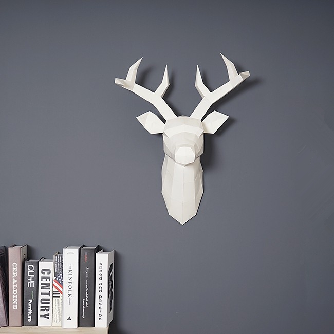 Home Decoration Accessories DIY Paper Handwork 60x45x32cm Vintage Antelope Head Abstract Room Wall Decor Deer Head Statues