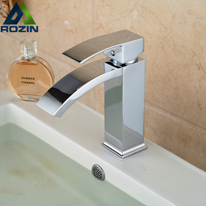 Free Shipping Wholesale And Retail Polished Chrome Waterfall Spout Bathroom Basin Faucet Modern Square Sink Mixer Tap free shipping polished chrome solid brass material bathroom sink waterfall square faucet