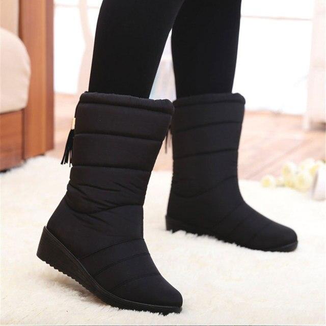 Mùa đông Nữ Giày Nữ Chống Thấm Nước Tua Rua Cổ Chân Giày Xuống Ủng Nữ Người Phụ Nữ Lông Ấm Áp Botas Mujer Thun
