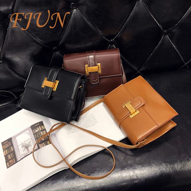 FJUN Retro Leather Women Messenger Bags 2018 Small Female Shoulder Bags  Luxury Top-Handle Bag 4c4f46dcef
