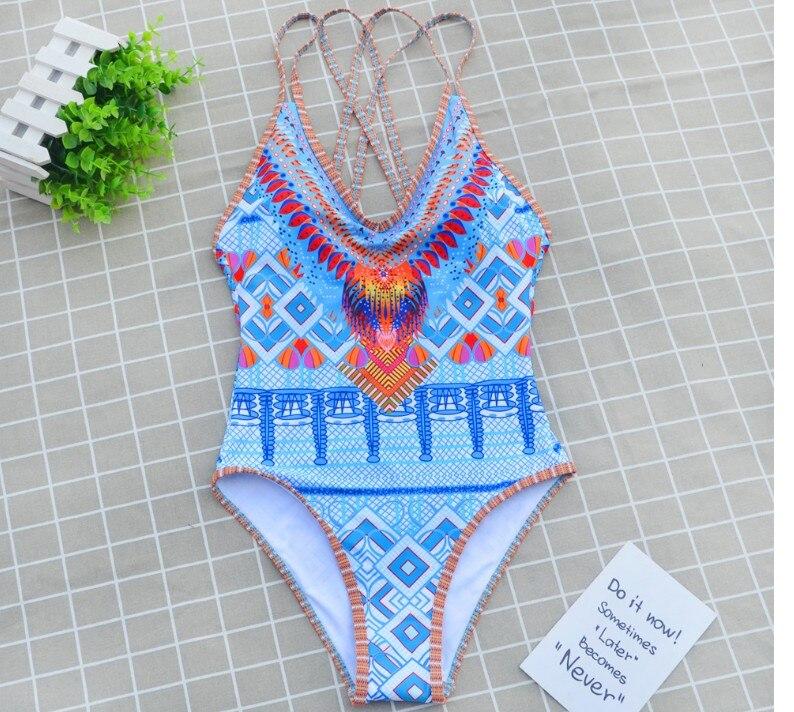 2017 New Bohemia Style One-Piece Swimsuit Bathing Suit Swimwear Beachwear For Women Monokini