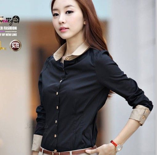 Large size XXL New 2014 Korean Spring Ladies Blouses Cardigan Slim OL Blusas Chiffon Blouse Shirt Women Clothing Drop Shipping