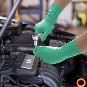Image 3 - Nitrile перчатки водонепроницаемые GMG зеленый желтый 12 дюймов Алмазный Узор безопасные рабочие перчатки защитные механики перчатки