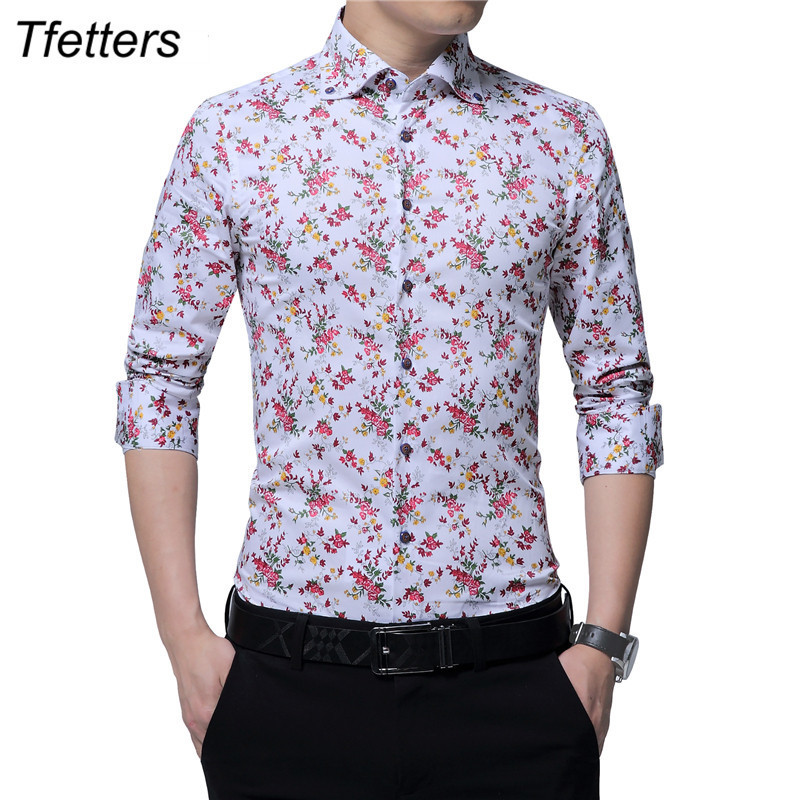 TFETTERS New Design Autumn Mens Floral shirt Print Party Fashion Long Sleeve Blouse for Men Camisa Floral Masculina