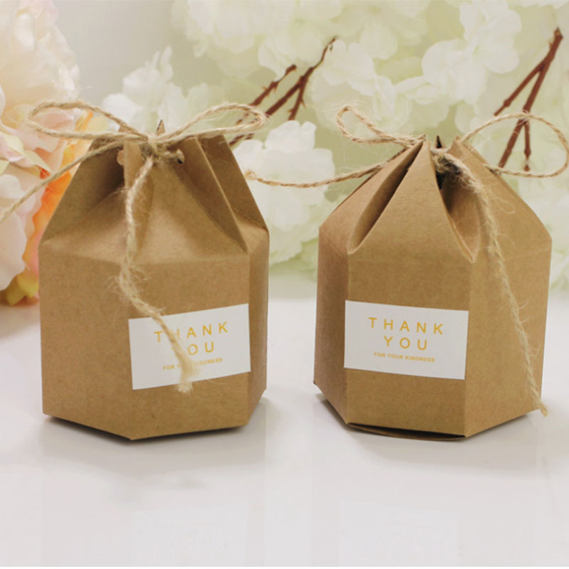 Image 4 - 50pcs Candy Dragee Box Kraft Gift Bag Wedding Favor Gift Boxes Pie Party Box Bag Eco Friendly Kraft Gift Bags Wrapping Supply-in Gift Bags & Wrapping Supplies from Home & Garden