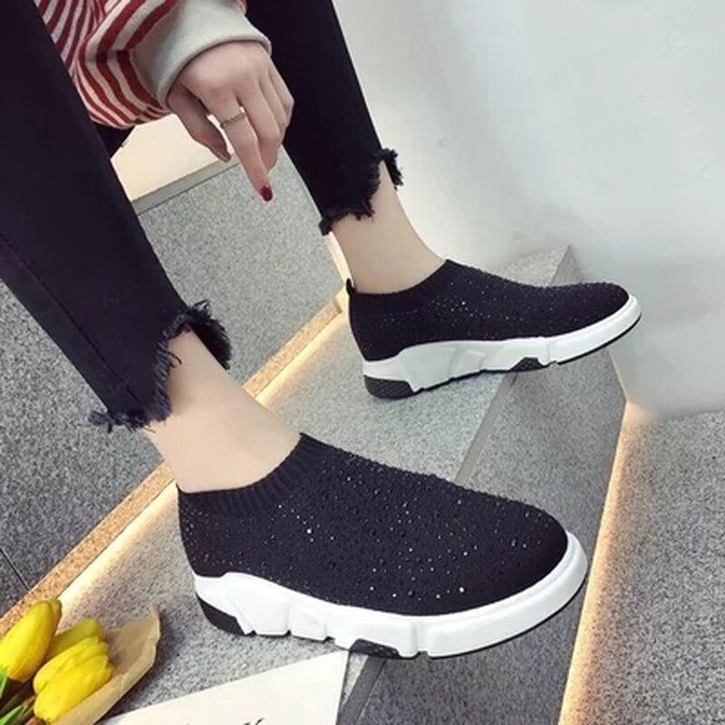 Cuir Non Casual Confortables Plates en Chaussures 2 Décoratifs Respirant Automne Femmes Tricoté 1 2018 Cristal Tissu De vpwqz0B