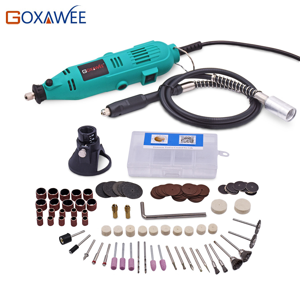 GOXAWEE 220V Electric Drill Variable Speed Rotary Tool Mini Drill with Flex Shaft and 100pcs accessories for Dremel Power Tools