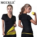 MCCKLE women slimming t shirt super stretch neoprene sweat body shaper tops women's hot shapers t-shirts elastic corsets