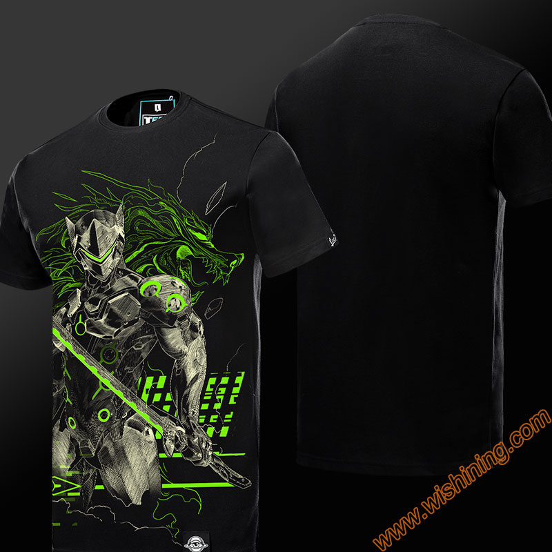 2017 Cool Luminous Genji Tshirts Mens Boys 3XL 4XL plus size quality Short Sleeve Black T-shirts