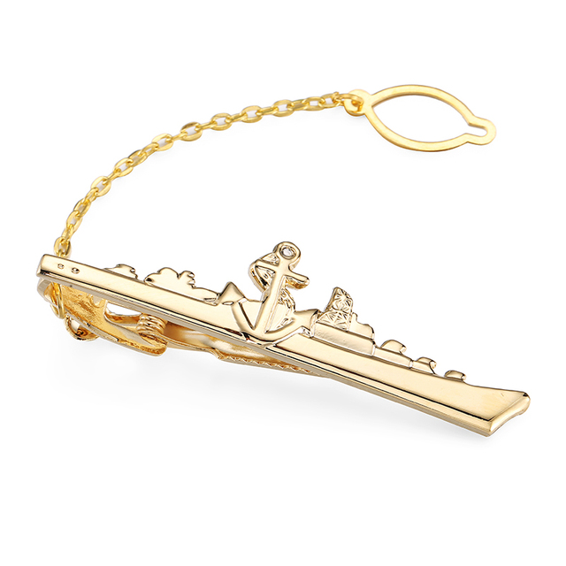 High-end Men's Tie Clip Wedding Shirt Pin Gold Plane Clips Design Style