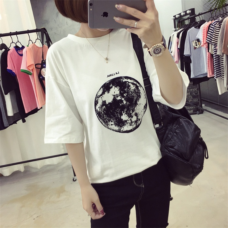 HTB1jYS0PFXXXXaLXFXXq6xXFXXXi - Summer Planet Earth Printed Loose Short Sleeve T Shirts