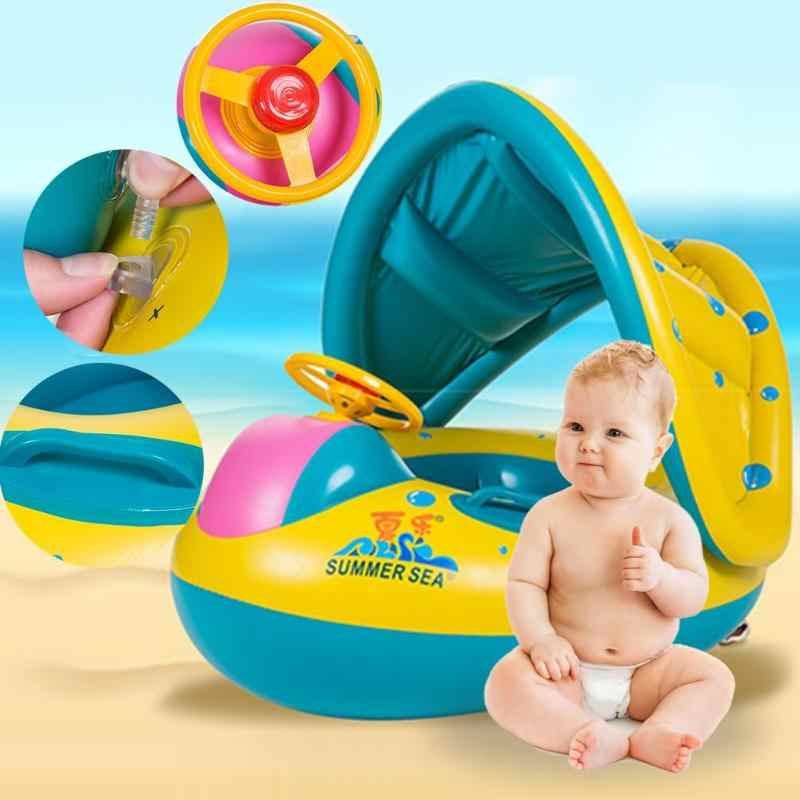 Kids Swimming Ring Yacht Inflatable Baby Swim Pool Toy Seat Float Boat Cartoon Safety Inflatable Float Circle Swimming Ring