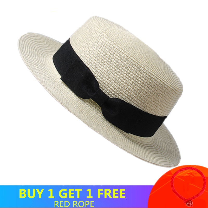 f205ba61 2019 Women Summer Hat Beach Straw Hat Panama Ladies Cap Fashionable  Handmade Casual Flat Brim Bowknot Sun Hats for Women