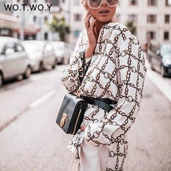 WOTWOY Fashion Woman Blouses 2018 Summer Casual Loose Long Sleeve Ladies Plaid V-Neck Long Blouses Women White Shirts Harajuku Blouses