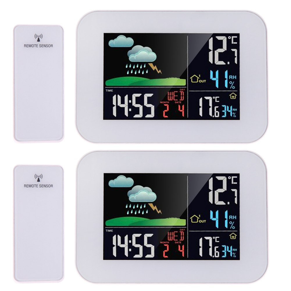 LCD Big Color Display Wireless Thermometer Hygrometer Weather Station Forecast Temperature Humidity Tester Clock Alarm Snooze wireless color weather station indoor outdoor forecast temperature humidity alarm and snooze thermometer hygrometer us eu plug